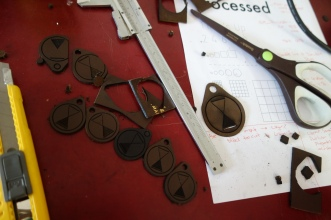 Production line cutting of fobs: trimming needed on the 3.2mm thick leather.