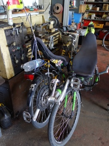 Two long travelled recliner bikes in the workshop. To be found: dust from Turkey, Georgia, India, Malaysia, Indonesia, the US, Mexico, Senegal, Morocco and even some from Europe.