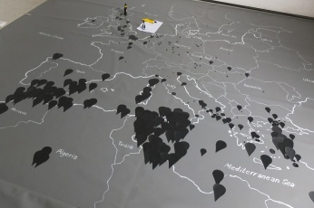 "Representation of the ""Migrant files"" - http://www.themigrantsfiles.com/; a compilation of missing or dead refugees on their way to Europe. Collected through a consortium of European journalists."